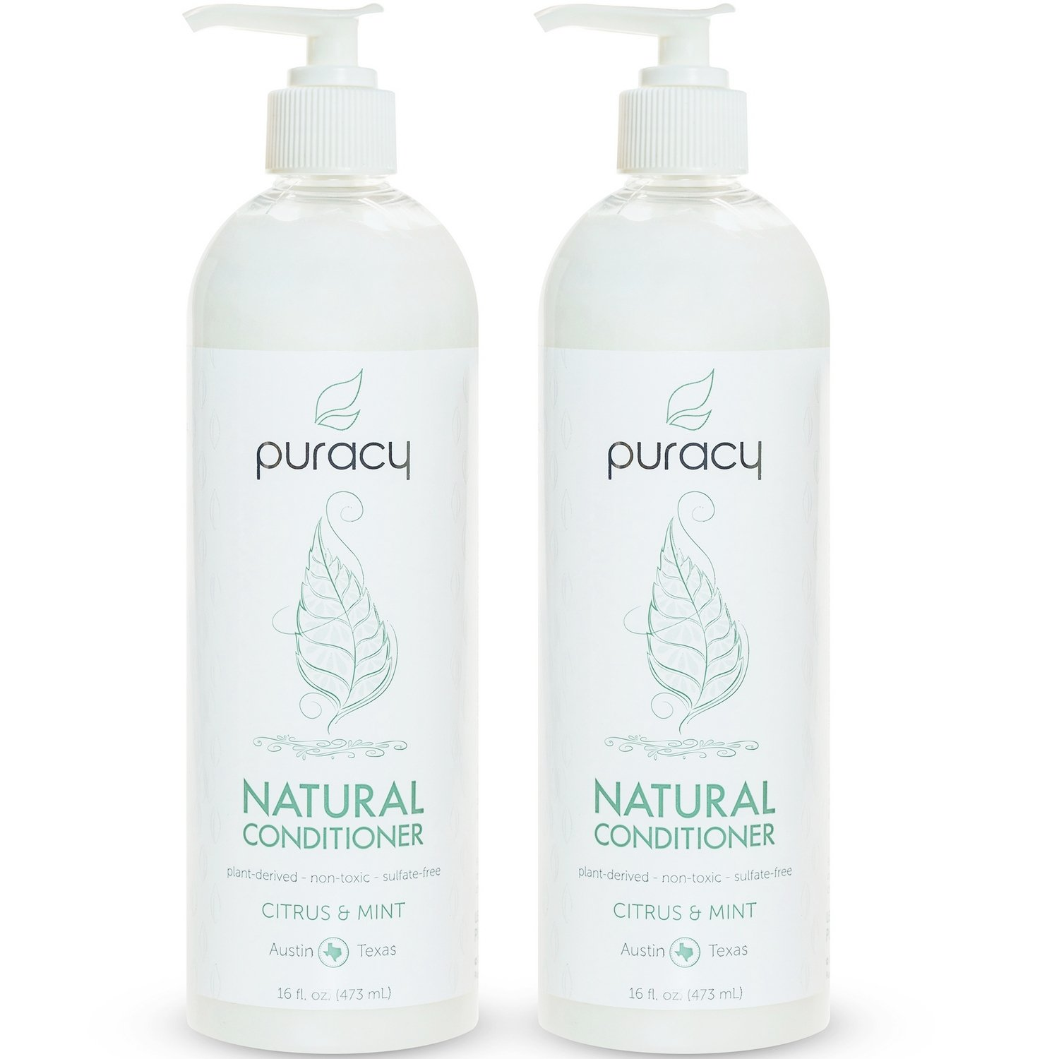 Puracy Natural Hair Conditioner Set, Sulfate-Free Non-Toxic Plant Polymers for Deep Conditioning, Citrus and Mint, 16 Ounce Pump Bottle, (Pack of 2)