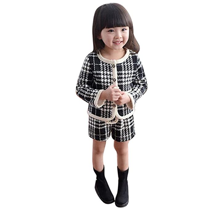 f3b9005de2441 Amazon.co.jp: Aliciga 女の子スーツ チェック柄 コート + ショートパンツ 上下セット かわいい コットン 子供服 黒 フォーマル  キッズ 発表会 受験 七五三 卒園式 ...