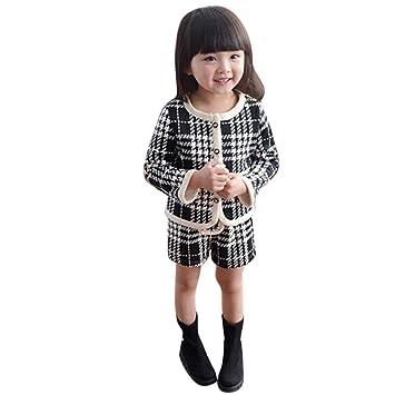 e02c283860448 Aliciga 女の子スーツ チェック柄 コート + ショートパンツ 上下セット かわいい コットン 子供服 黒