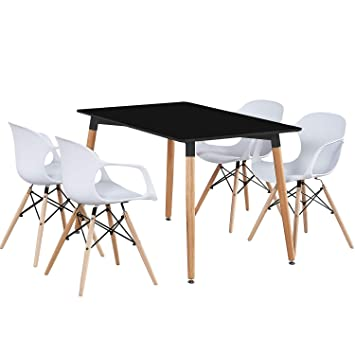 Pn Homewares Ensemble Table Noire 4 Chaises De Salle à