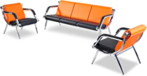 Bestmart INC 3PCS Office Reception Chair Set PU Leather Waiting Room Bench Visitor Guest Sofa Airport Clinic Chair, Orange