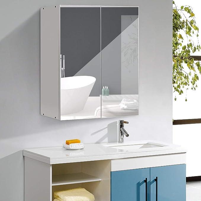 H/ängeschrank mit Spiegelt/ür Badezimmerspiegelschrank wei/ß COSTWAY Spiegelschrank Badezimmer Badezimmerspiegel mit Ablagen Wandschrank mit Badspiegel