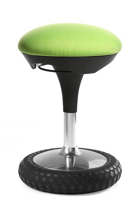 Topstar Sitness 20, ergonomischer Sitzhocker, Arbeitshocker, Bürohocker mit Schwingeffekt, Sitzhöhenverstellung, Bezug apfelg