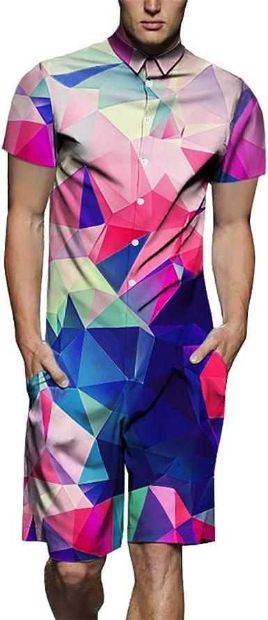 VonVonCo Mens Summer 3D Printed Splicing Short Sleeve T-Shirt Top Blouse Print Jumpsuit M-3XL