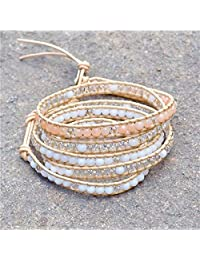 M&B Coral, Cream and White Multi Layer Beaded Women's Wrap Leather Bracelet