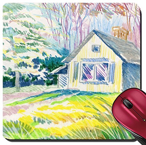 Liili Suqare Mousepad 8x8 Inch Mouse Pads/Mat IMAGE ID: 38167922 Watercolor Rural hut in the - In Hut Forest