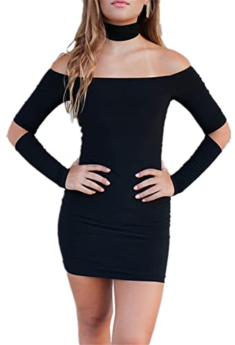 Arctic Cubic Sexy Off The Shoulder Elbow Cut Out Mini Black Bodycon Dress