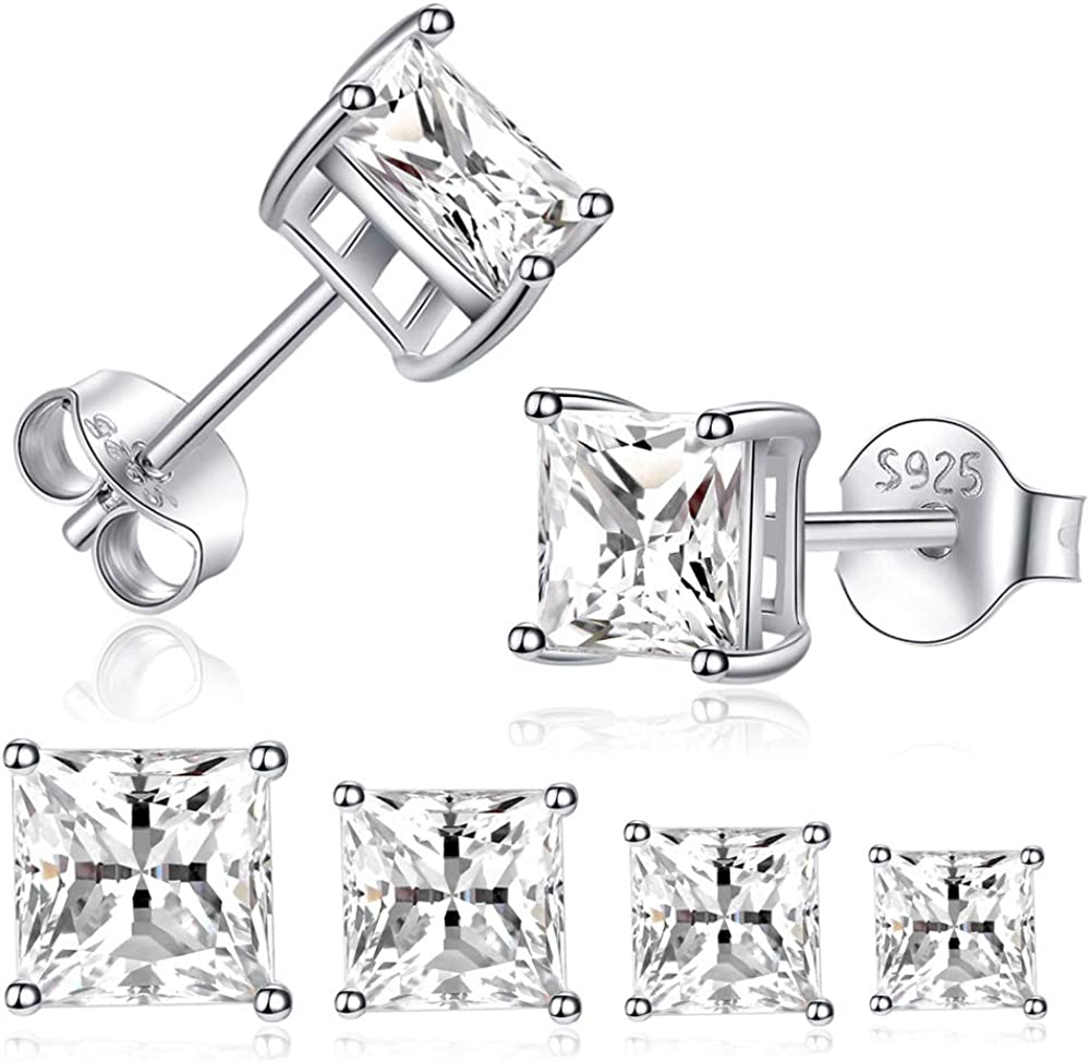 Sterling Silver Stud Earrings for Women Girls Men- 4 Pairs Princess Cut Square Cubic Zirconia CZ Studs Small Simulated Diamond Earrings Hypoallergenic Cartilage Tragus Helix Earrings 2mm 3mm 4mm 5mm