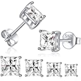 Sterling Silver Stud Earrings for Women Girls Men- 4 Pairs Princess Cut Square Cubic Zirconia CZ Studs Small Simulated…