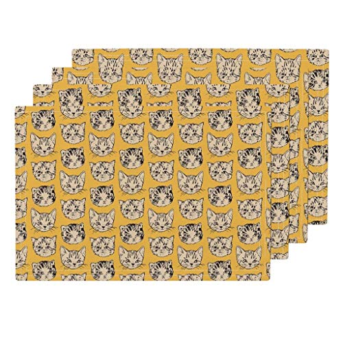 Cute Cats 4pc Linen Cotton Canvas Cloth Placemat Set - Pet Cat Hipster Home Decor Animal Cat Kitten Kitty Pet Hipster Cats Abstract by Imaginaryanimal (Set of 4) 13 x 19in