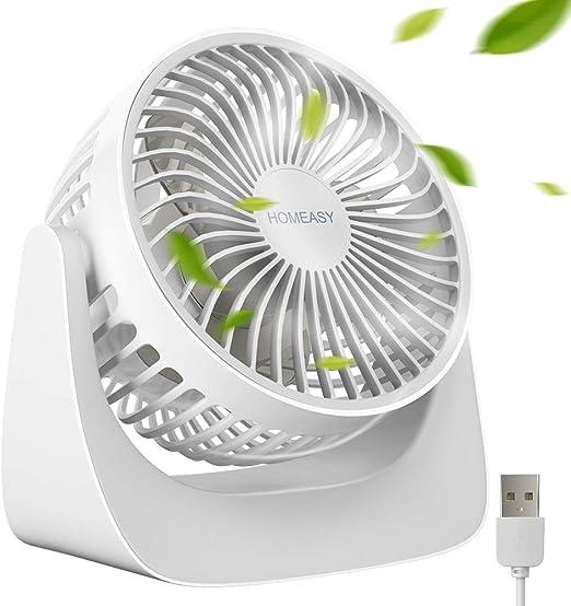 homeasy Mini Ventilador USB de Mesa y Escritorio Silencioso con 3 ...