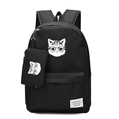 Women Canvas Cartoon Cat Black Backpack Travel Bag School Bags for Teenage  Girls (Black) bb64dd45436cc