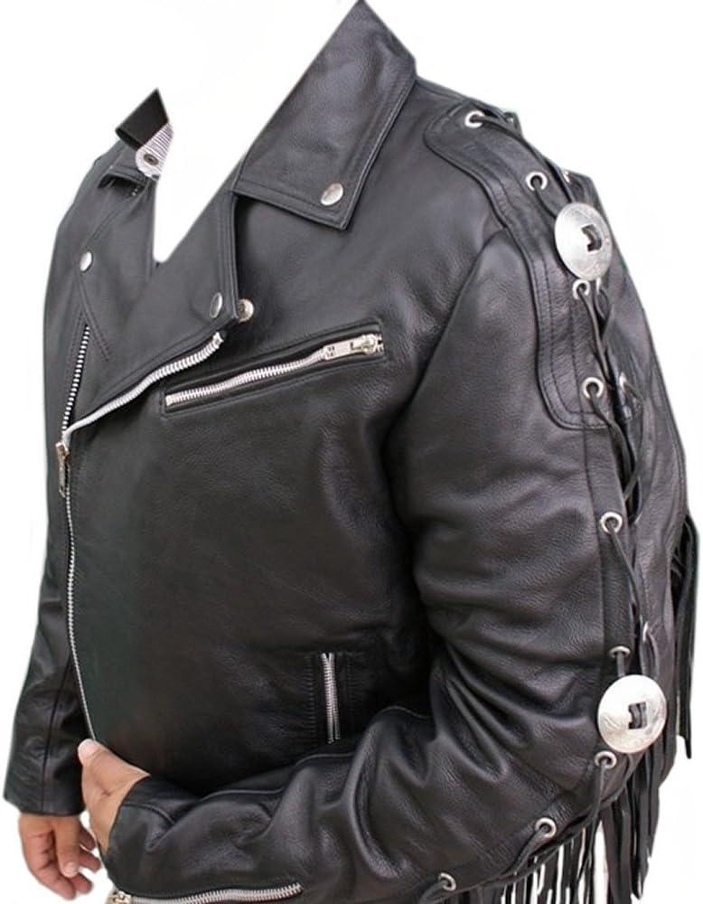 coolhides Mens Black Hawk Motorcycle Leather Jacket