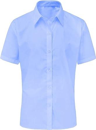 Onlyglobal Girls Long Sleeve Blouse Shirt School Uniform White Sky Blue