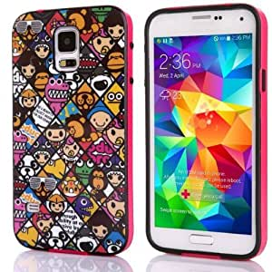 Voguesia Branch Pattern Plastic Hard Cover Camo Triple Hybrid Silicone Case for Samsung Galaxy S5 with Simple High-end Business Detachable Keychain Gift (KATONG)