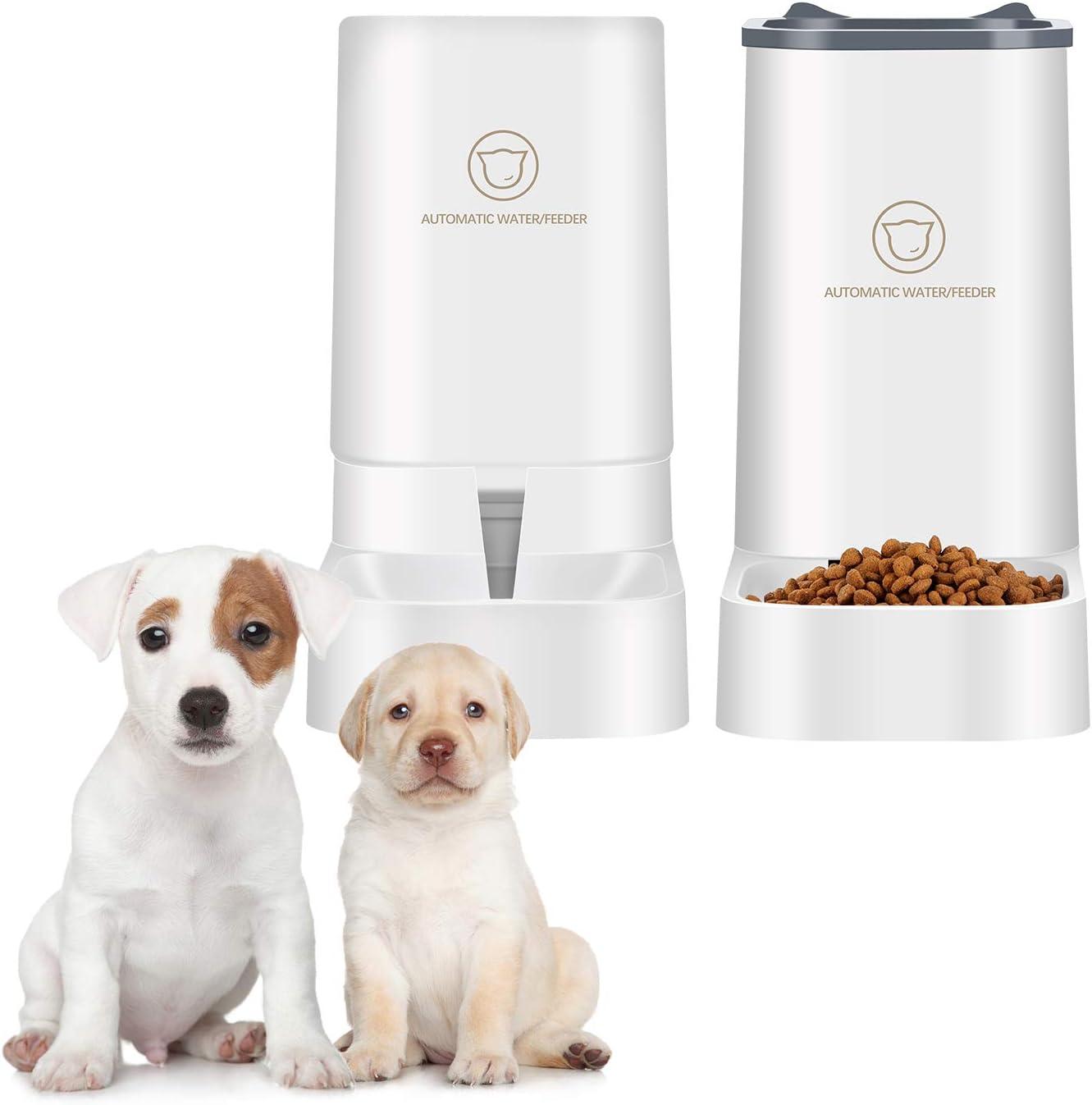 beyonday 2PCS Dog Cat Automatic Feeder 3.8L Water Dispenser Pet Feeder Set, Auto Gravity Water and Food Dispenser, Auto Feeder Self Feeding for Small Medium Cat Dog