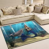 Naanle Cute Mermaid Dolphin Non Slip Area Rug for Living Dinning Room Bedroom Kitchen, 5′ x 7′(58 x 80 inches), Ocean Beach Nursery Rug Floor Carpet Yoga Mat For Sale