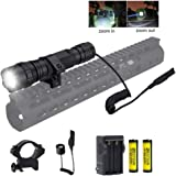 BESTSUN Tactical Flashlight, 1200 Lumen Zoomable Hunting Flashlight Waterproof LED Torch with Pressure Switch, Rail Rifle Mount, Rechargeable Batteries and Charger