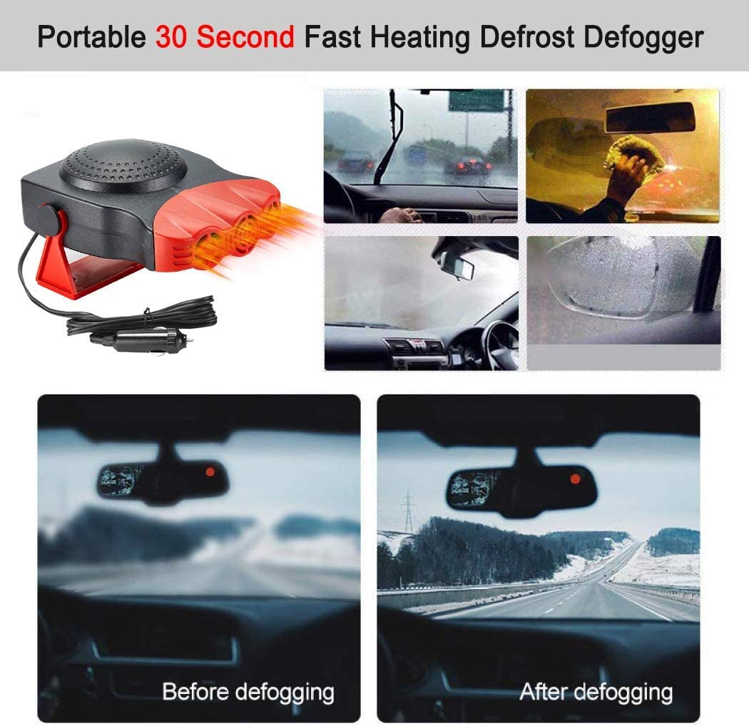 12 V Car 30S Fast Heat or Cooler 2 in 1 Car Heater and Cooler CRED02, Red 150W Defrost Defrogger Heating Fan Portable Car Heater