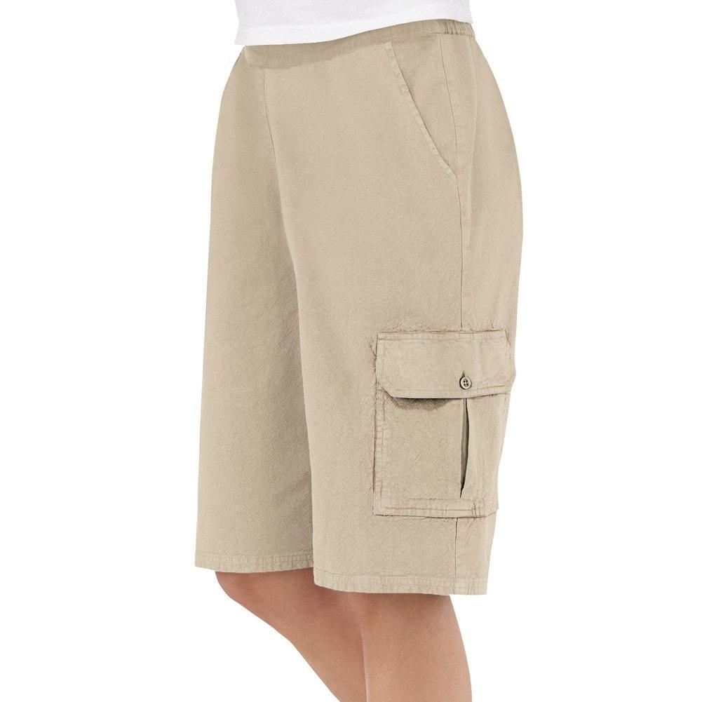 Collections Etc Women's Elastic Waist Cargo Pocket Short, Khaki, Xx-Large