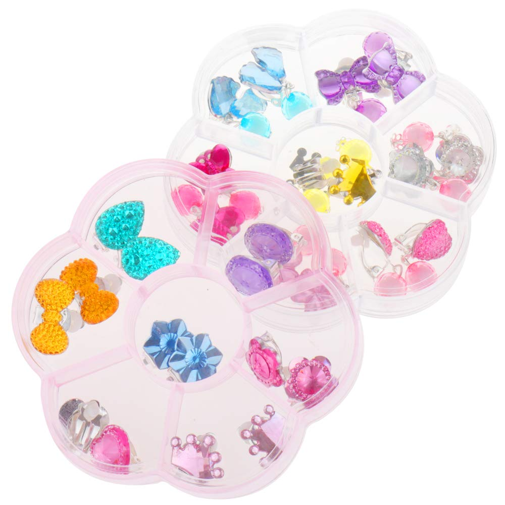 All Packed in Clear Box HaiMay 52 Pieces Little Girl Shiny Clip on Earrings Hair Clips Adjustable Jewelry Rings Set,Children Kids Girl Pretend Play Earrings and Dress up Rings