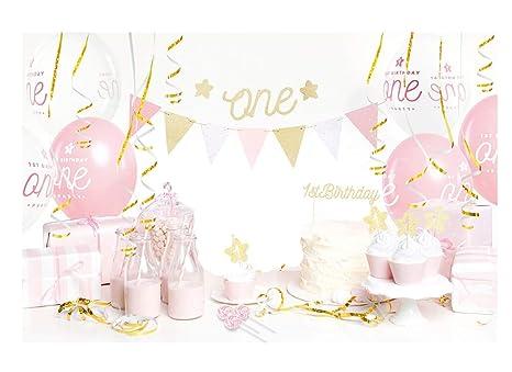 P\u0026D Box Addobbi e Decorazioni Primo Compleanno + 3 Lecca Lecca Set 1 Anno  (Rosa