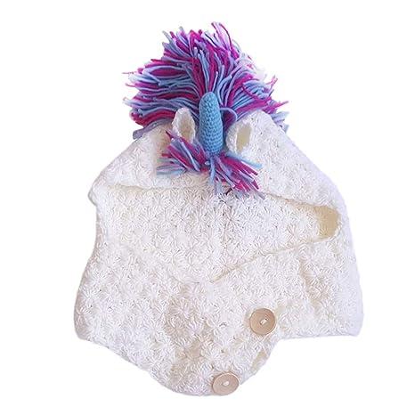 YeahiBaby Cappello Unicorno con Sciarpa Cappello all Uncinetto Unicorno  Cappelli Invernali per Bambini d340569d0395