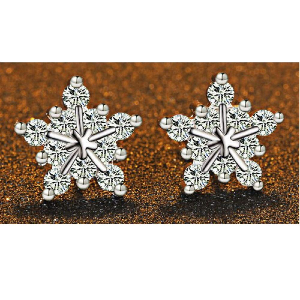h5/_jc 1 Pair Women Jewelry Elegant 925 Sterling Silver Ear Stud Star Ice Flower Earrings