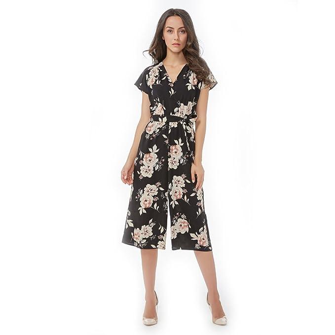 addb250ef6 vadim Women Vintage V Neck Floral Jumpsuits Wide Leg Pants Sashes Pleated  Elastic Waist Rompers Summer