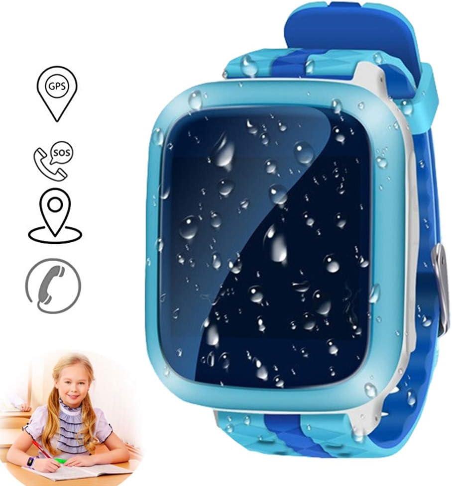 JZWDMD Smartwatch Impermeable para niños con GPS rastreadores Relojes Inteligentes al Agua Teléfono con GPS/LBS SOS Pantalla Táctil de Chat de Voz para niños niñas Mejor Regalo para niños