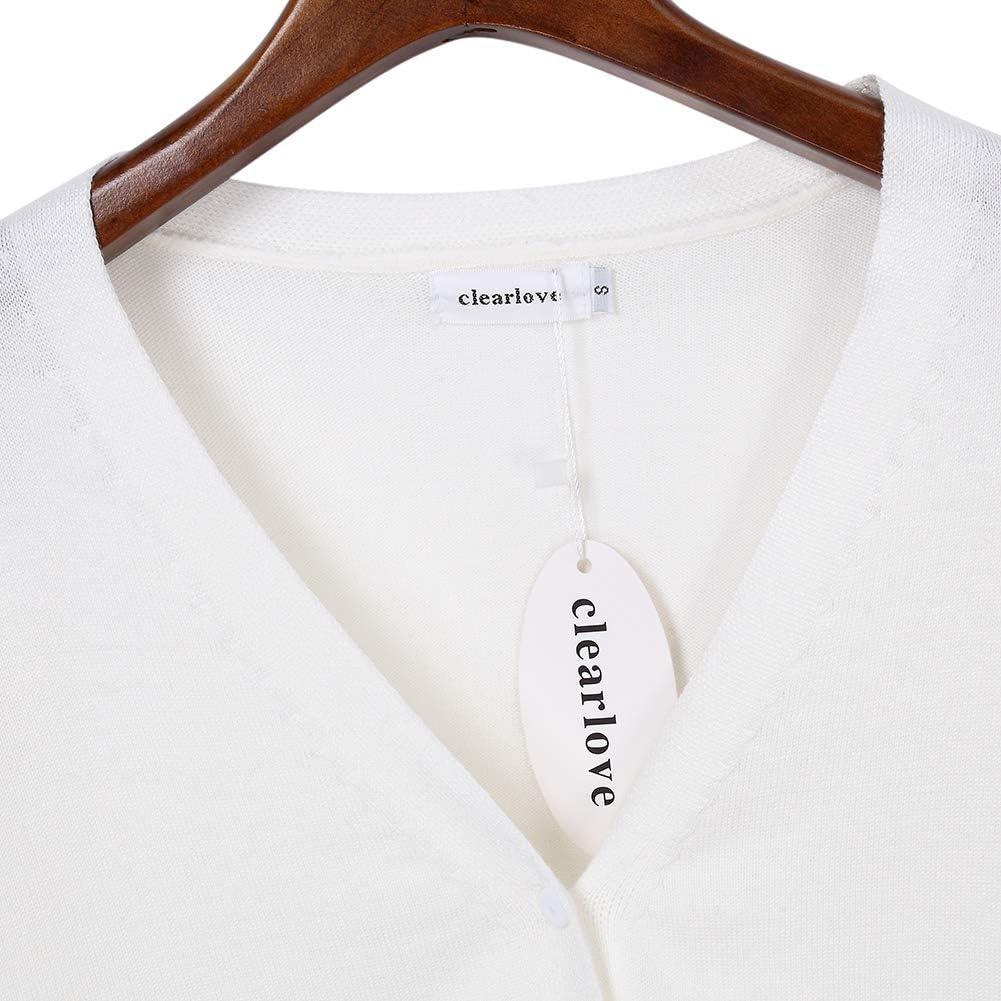 Clearlove Damen Strickjacke Kurz Cardigan Langarm V-Ausschnitt Bolero mit Knopf(Verpackung MEHRWEG)