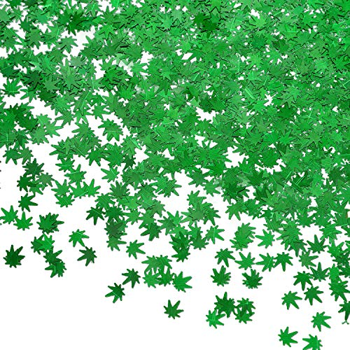 20 Grams Weed Leaf Glitter Festival Pot Leaves Nail Body Art Decoration for DIY Festival Makeup Accessories (Green)