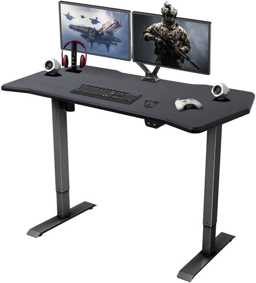 FlexiSpot Height Adjustable PC Gaming Desk, 9 x 9 Inches, Computer Table  for E-Sports Gamer, Black Frame with Game Top