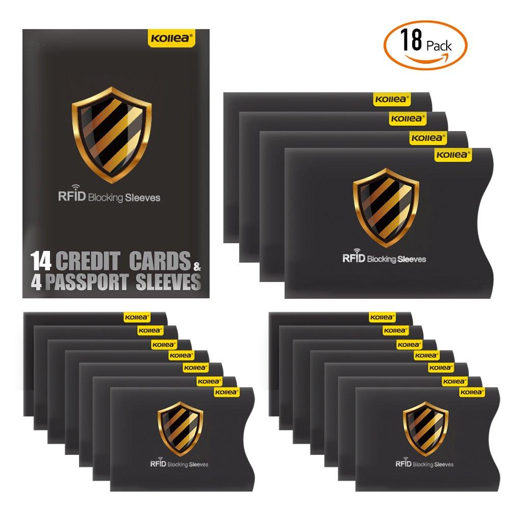 Blocking Schutzhülle, Kollea RFID Kartenschutzhüllen 18 Stück für Kreditkarte, Personalausweis, EC-Karte, Reisepass, Bankkarte, Ausweis, Sicheres Abschirmen von Kontaktlosen RFID & NFC Funk-Chips. Blocking Schutzhülle