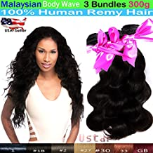 "uSTAR 6A Malaysian BODY WAVE 3 Bundles Virgin Hair Weave Extension - Jet Black #1 Color - 100% Human Hair - 16""18""20"""