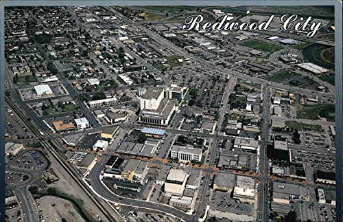 Aerial View showing Shopping Mall on Broadway Avenue Redwood City, California Original Vintage - Mall Shopping Broadway
