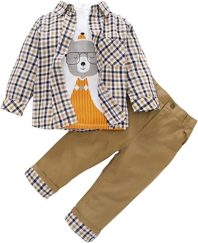 URMAGIC Tops de manga larga Pantalones Conjuntos de ropa Bebé Niño Niños Manga larga Niño Patrón de dibujos animados Camisas Blusa a cuadros Abrigo + Pantalones caqui casuales Trajes de otoño: Amazon.es: