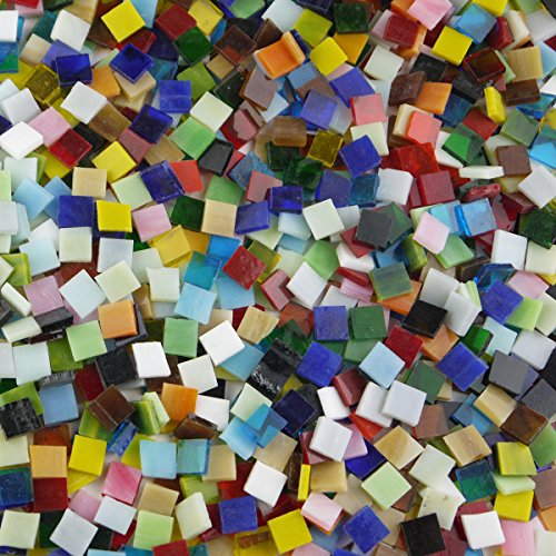 lieomo 200g/Pack Mixed Color Tumbled Stained Glass Mosaic Tiles Home Decoration ()