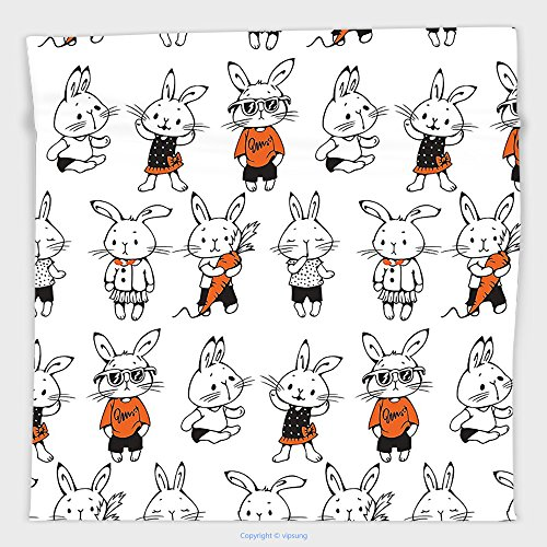 Vipsung Microfiber Ultra Soft Hand Towel-Funny Decor By Cute Retro Bunny Rabbits With Costumes Jack Hare Funky Bunnies Carrot Sketch Style Print Decor Orange White For Hotel Spa Beach Pool (Carrot Costume Pattern)