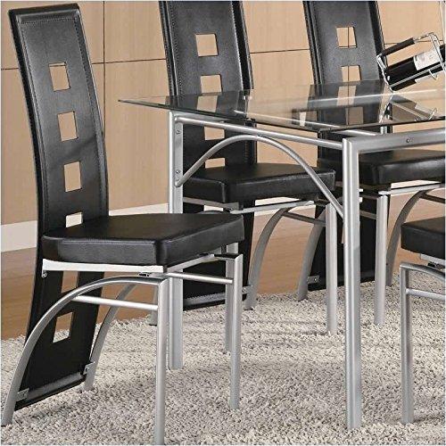 Coaster Los Feliz Metal Dining Chair with Black Vinyl in Mat