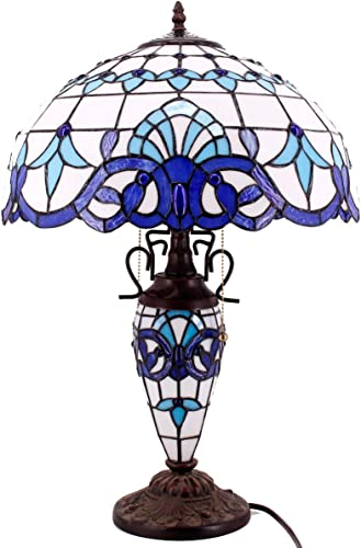 Tiffany Style Table Lamp W16H24 Inch Tall Blue White Stained Glass Baroque Lampshade Antique Night Light Base S003B WERFACTORY Lamps Lover Living Room Bedroom Study Reading Desk Nightstand Art Gift