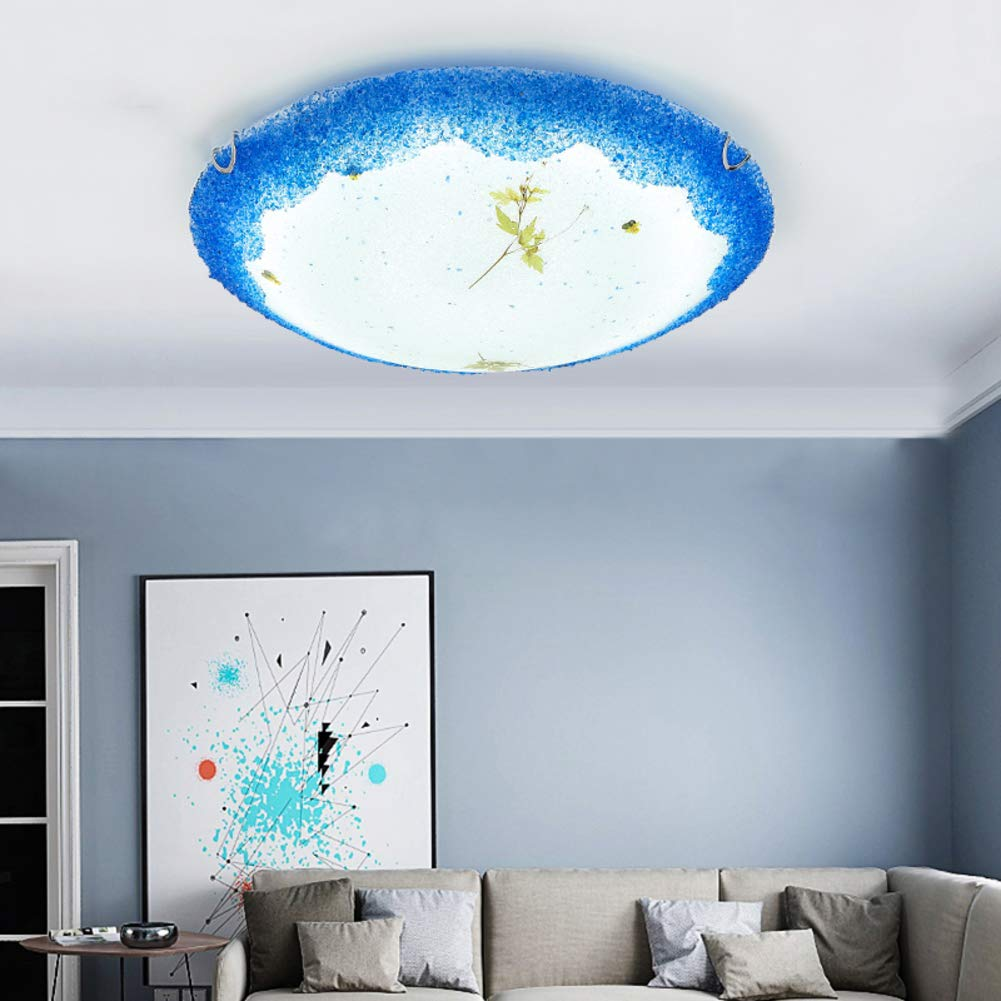 Mediterranean Creative Glass Ceiling Light, LED 36W Modern Tiffany Style Decoration Ceiling lamp for Bedroom Living Room Ceiling Light-Trichromatic dimming-C 50x10cm by CUICAN (Image #3)
