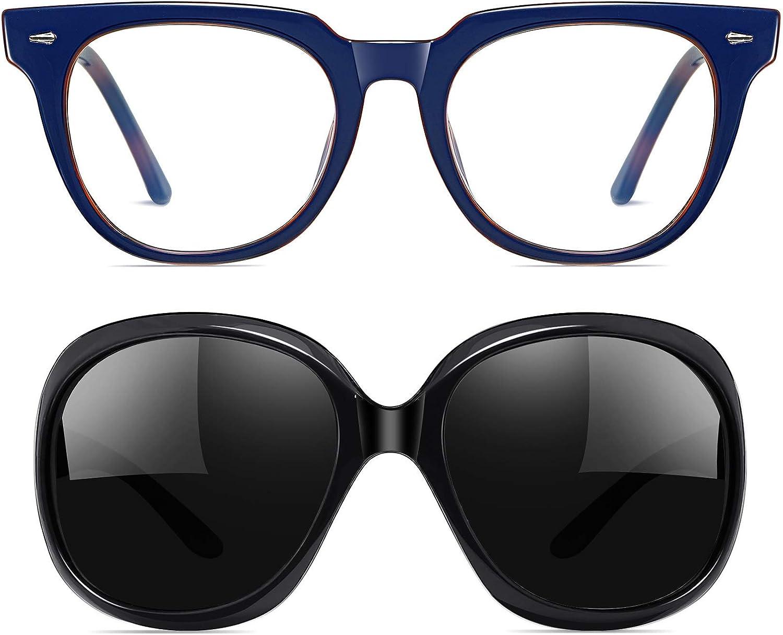 Joopin Glasses, Womens Oversized Polarized Sunglasses & Blue Leopard Unisex Blue Light Blocking Glasses