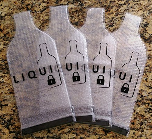 Reusable Bottle Protector Travel Bag By Liqui Locker (4-Pack) – TSA Compliant Sleeve For Wine Whisky Tequila Vodka Beer Olive Oil Champagne By Car Boat Train Cruise Bus Airplane In Luggage Backpack