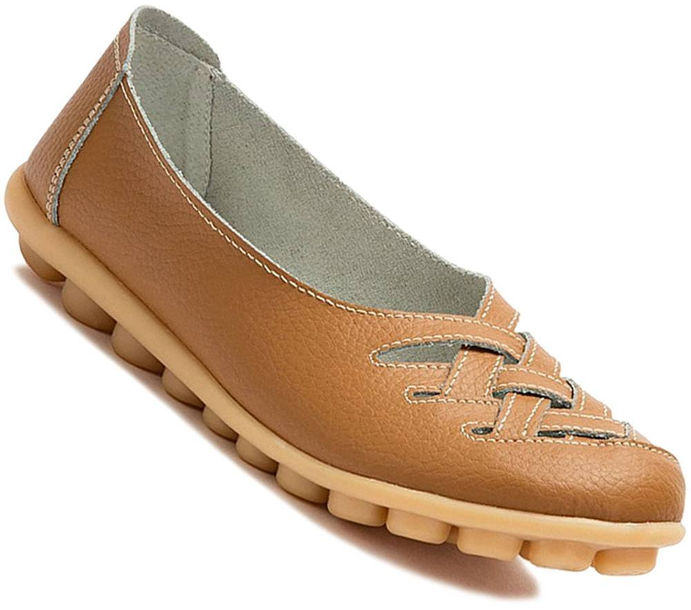 Fangsto Women's Cowhide Leather Loafers Flats Sandals Slip-On US Size 6 Lt. Tan