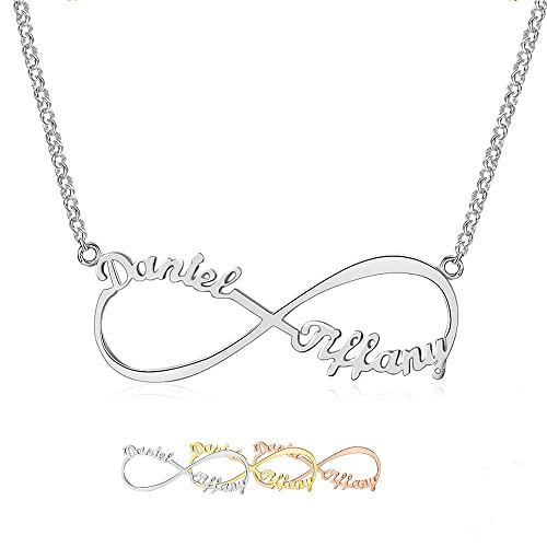 Lam Hub Fong Custom Infinity Name Necklaces Personalized 2 Names Necklaces Any Name Necklaces For Women Valentines Day Jewelry For Women