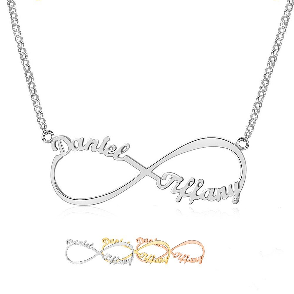 Lam Hub Fong Custom Infinity Name Necklace Personalized Necklaces with 2 Names Customized My Name Necklace Any Name Necklaces for Women (Silver) by Lam Hub Fong