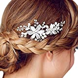 Happy Hours - Women Pearl Rhinestone Handmade Hairpins / Floral Shaped Design Barrette Clips for Wedding Prom Bridal Bridesmaid Jewelry Accessories(#3)