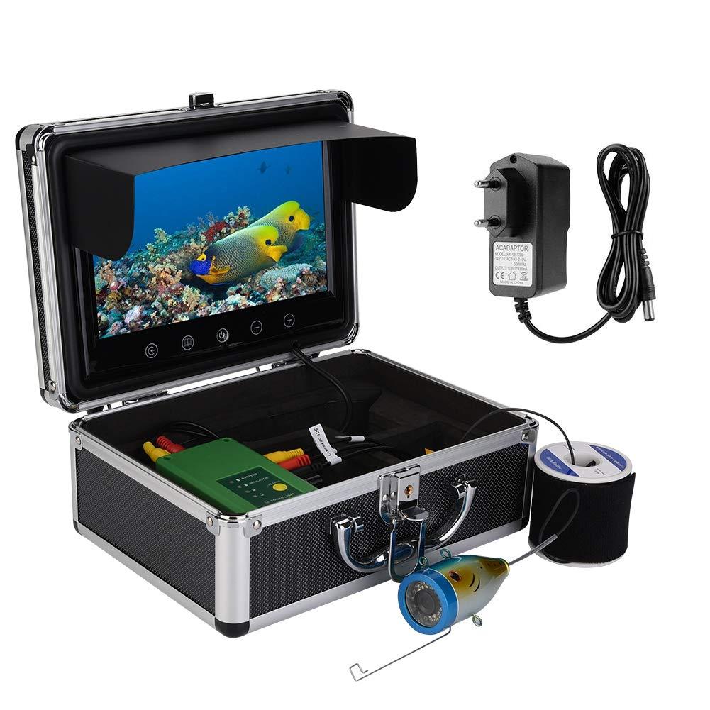 ASHATA C/ámara de Pesca 30 LED 1000TVL Buscador de Peces para Pesca en mar//r/ío 30m EU. Plug 9inches TFT Color Monitor Buscador de Peces C/ámara de Pesca submarina con Estuche