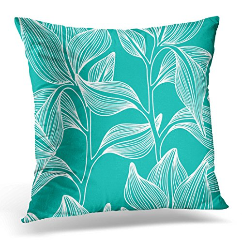 """Emvency Throw Pillow Covers Tropic Stylish Colorful Floral Leaf with Text Flower Decorative Pillow Case Home Decor Square 20"""" x 20"""" Pillowcase"""